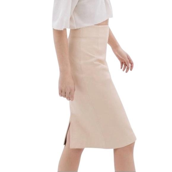 489ac3933d Zara Skirts | Leatherlike Midi Pencil Skirt Cream Sz L Nwt | Poshmark